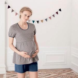 Anita Maternity - Gri, Starry sky, 2 in 1 pijama pentru gravide si pentru alaptare