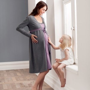 Anita Maternity - Grape Melange, 2 in 1 set pentru maternitate si pentru alaptare, cu camasa de noapte